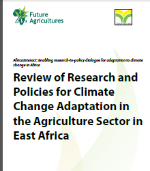 Review of Research and Policies for Climate Change Adaptation in the Agriculture Sector in East Africa