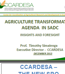 CCARDESA Contribution to Agriculture Transformation in Africa