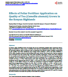 Effects of Foliar Fertilizer Application on Quality of Tea (Camellia sinensis) Grown in the Kenyan Highlands